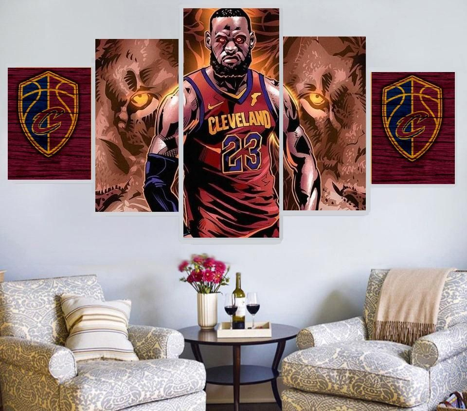 Lebron James Lions Oil Painting On Canvas Sports art