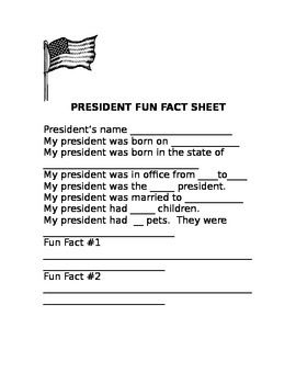 This is a 1 page product to use for recording information about presidents.