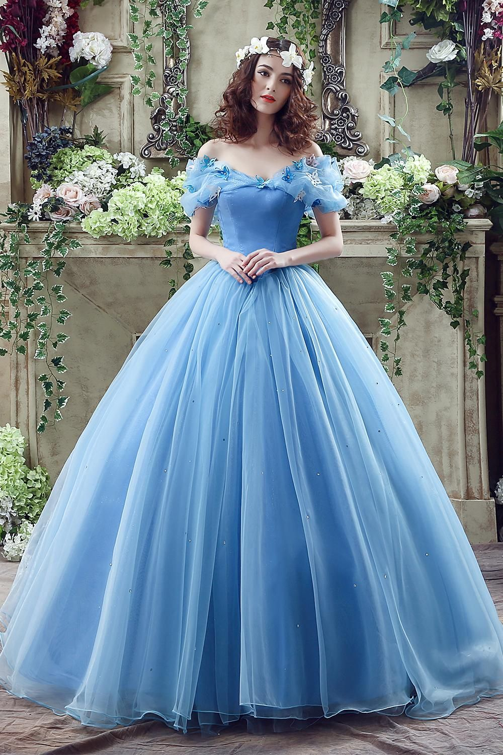 2016 Cinderella Graceful Ocean Blue Tulle Ball Gown Quinceanera ...
