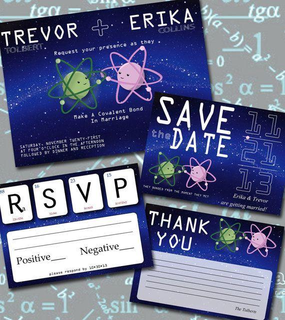 nerdy wedding announcements science geek wedding invitation set by lilycielbridal - Nerdy Wedding Invitations