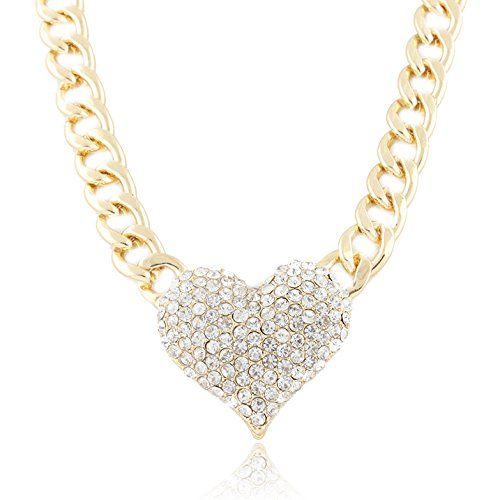 Ladies Goldtone with Clear Iced Out 3D Heart Pendant with a 16 Inch Adjustable Link Chain Necklace $6.95