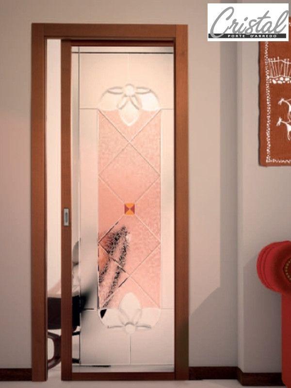 Porta scorrevole interno muro berillo classic collection cristal lavorazione a mosaico con for Porte scorrevoli interno muro prezzi
