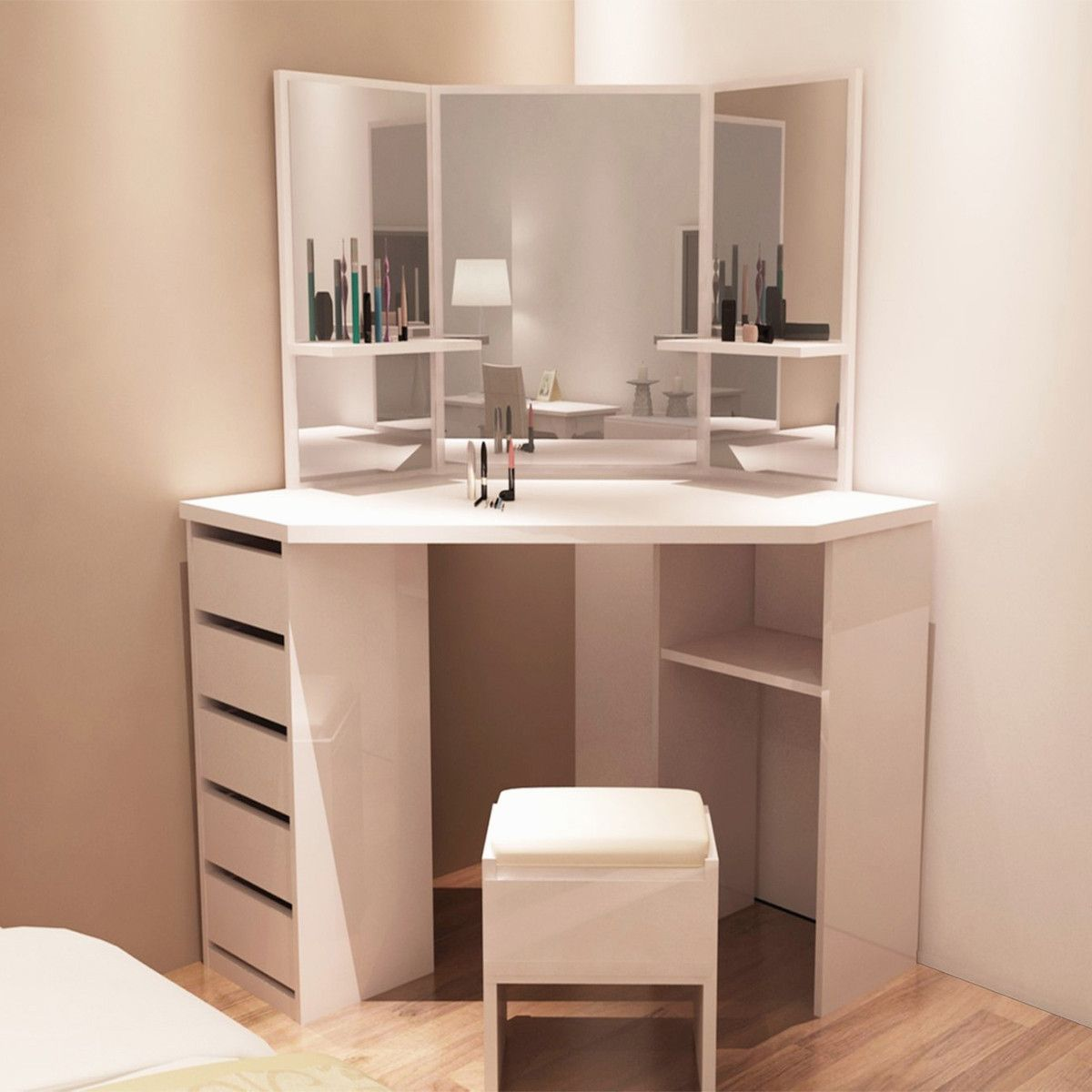 36 New Corner Makeup Vanity With Mirror Corner Dressing Table Corner Vanity Table Furniture Dressing Table