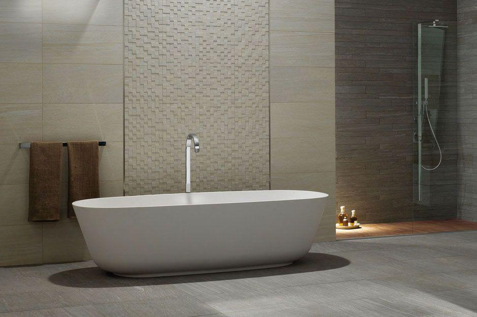Carrelage gris de salle de bain en grès cérame aspect pierre - image carrelage salle de bain