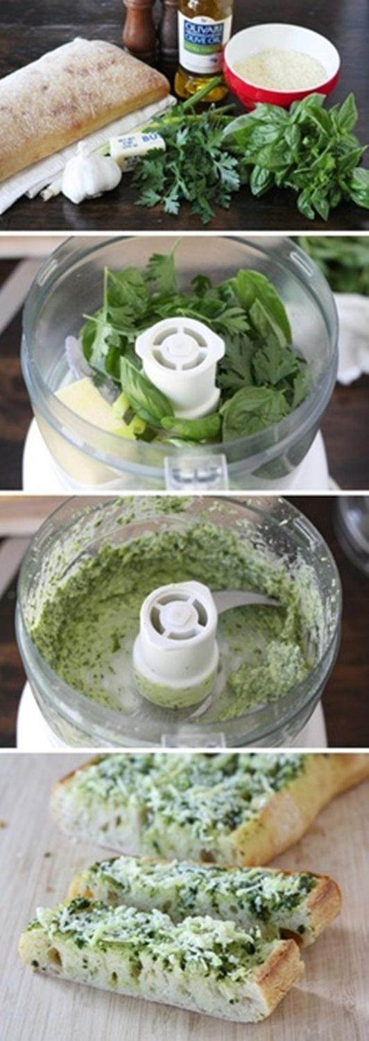 """Basil butter garlic bread spread! French bread, butter, olive oil, basil, parsley, garlic, green onion, salt, pepper, and Parmesan cheese. """"Repinned by Keva xo""""."""