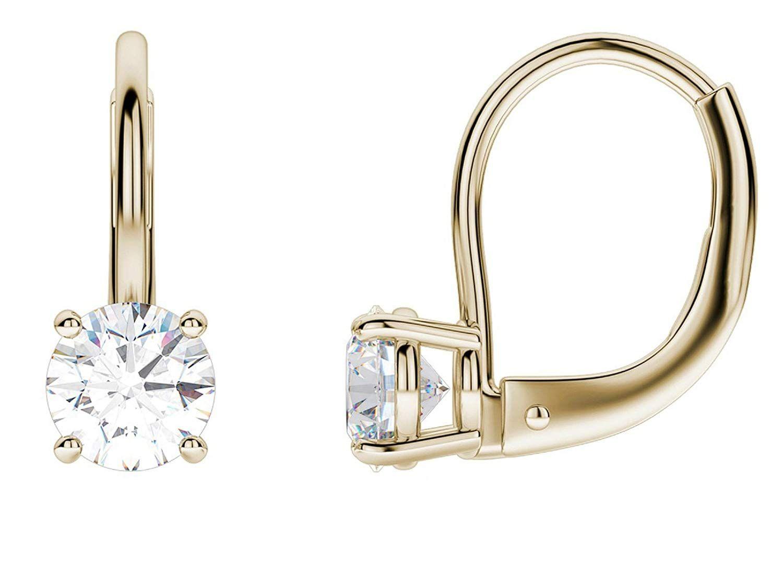 High Quality 10K Gold Emerald cut Simulated Sapphire Lever Back Dangle Earrings