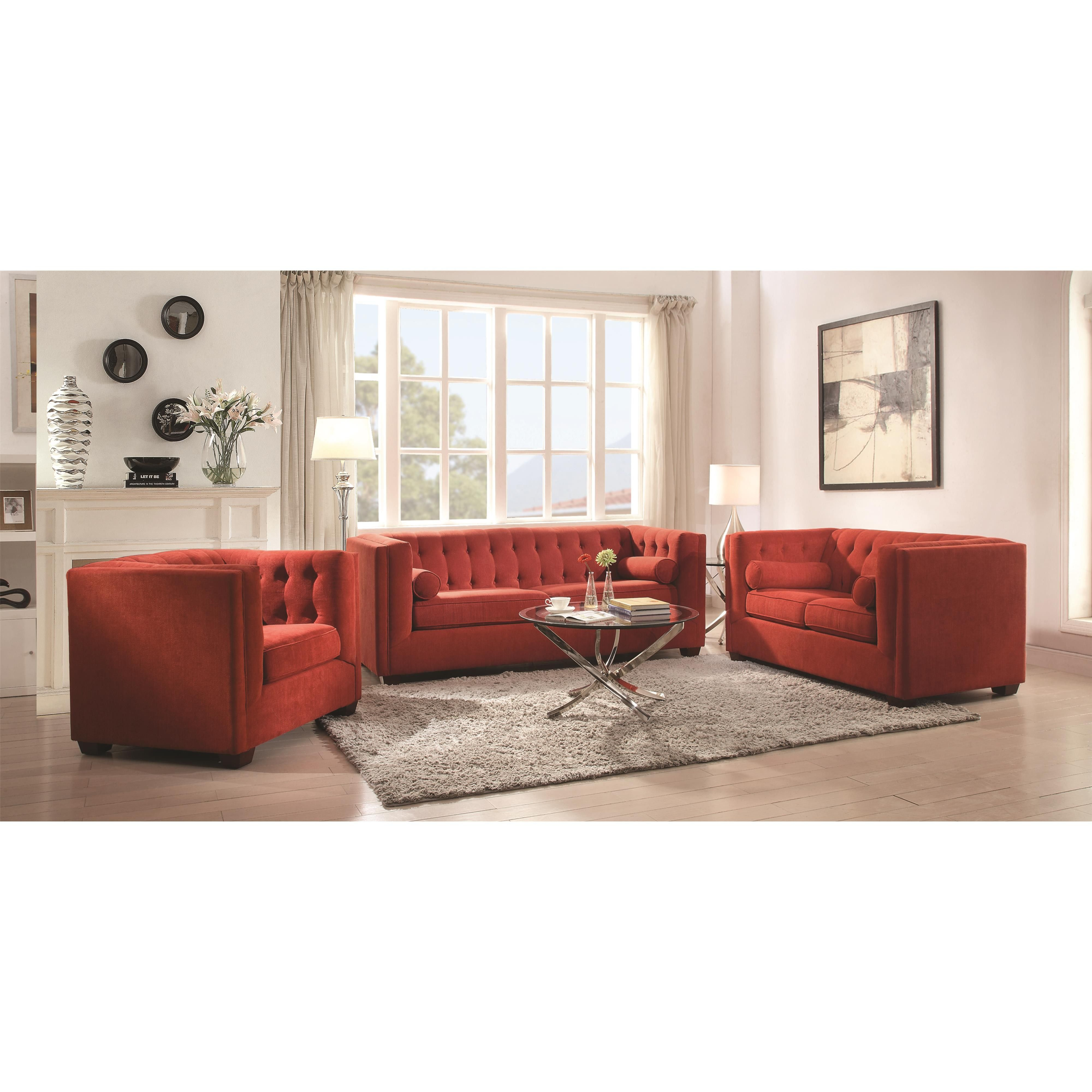 Cairns Collection Red Sofa with Tufted Back and Lumbar Pillows