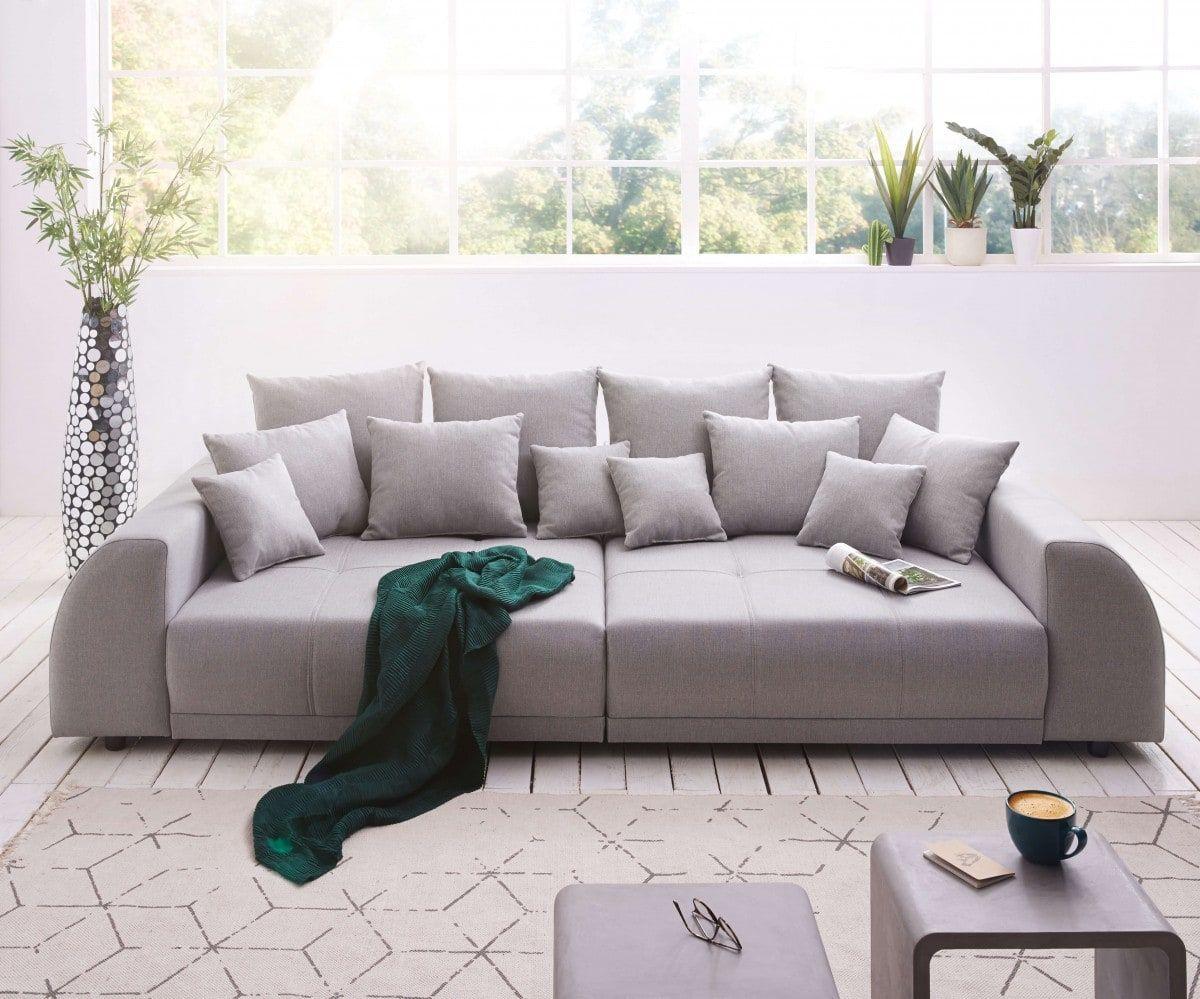 Big Sofa Violetta 310x135 Cm Grau Abgesteppt Mit Kissen Mobel