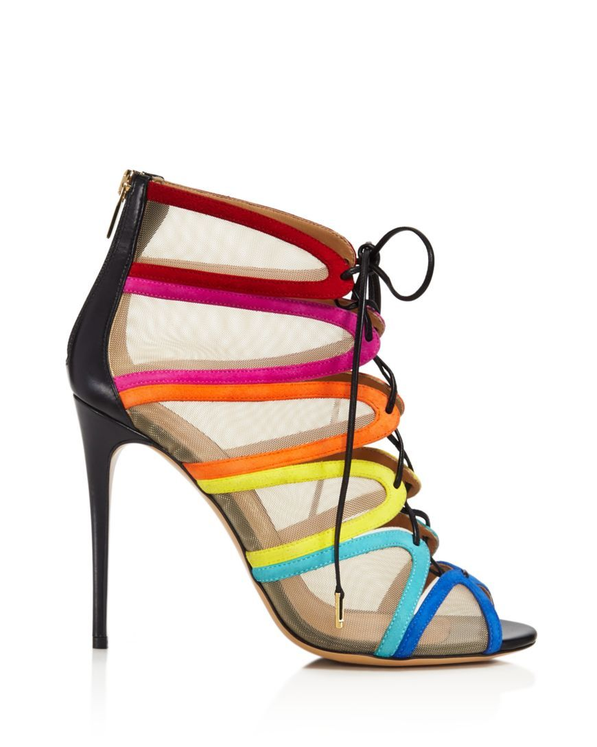 b509bb7a7842 Salvatore Ferragamo Edgardo Osorio Collection Amber Rainbow Stripe Mesh  Lace Up Booties Peep Toe Ankle Boots