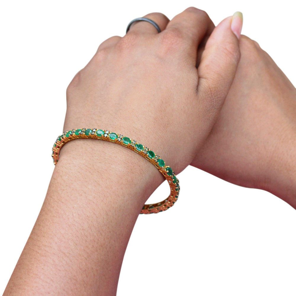 Emerald bangle gemstone silver pave diamond bracelet k gold