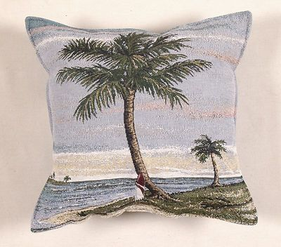 "17"" PALM TREE Tropical Island Ocean Tapestry Cushion Pillow $25"