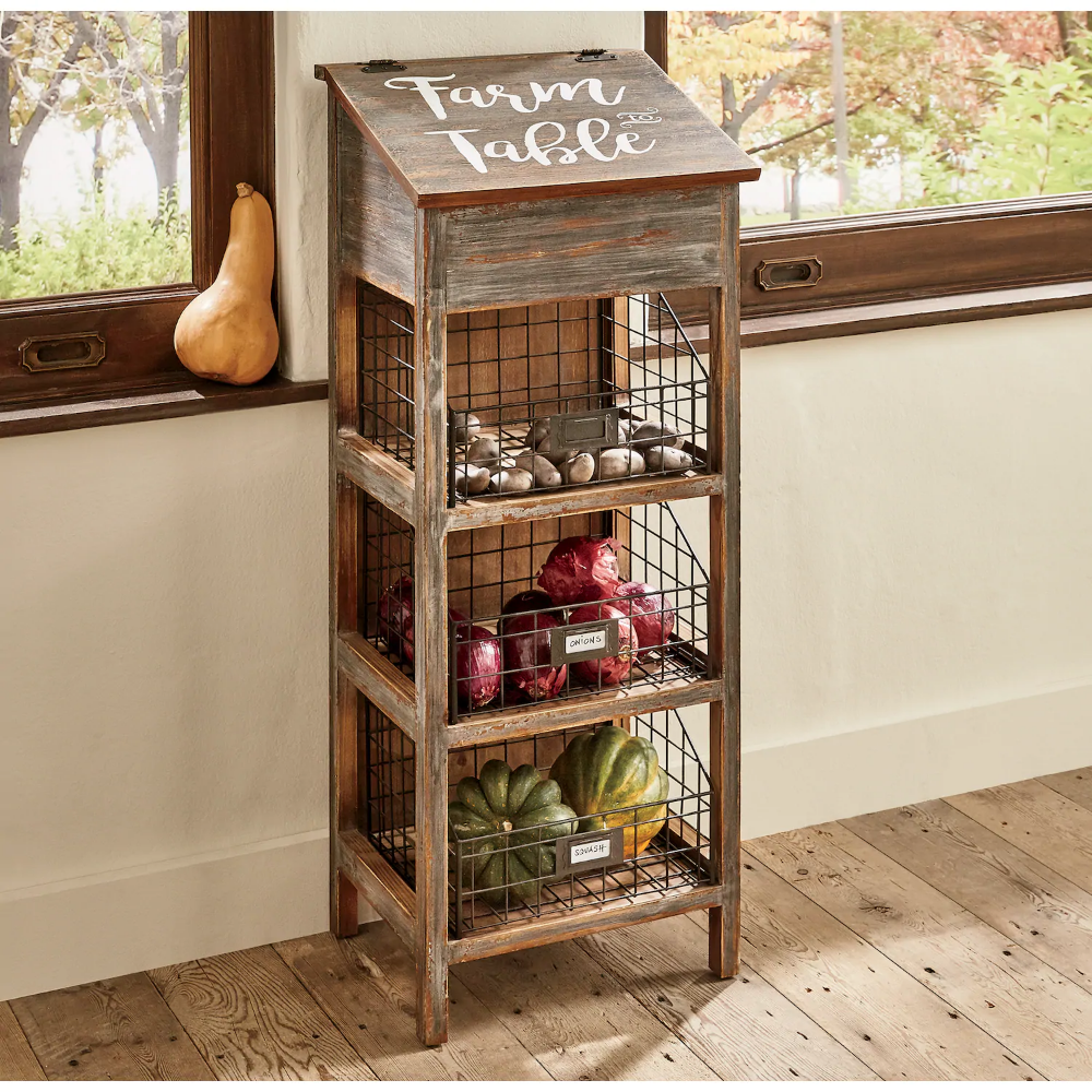 Lift Top Vegetable Bin With Wire Baskets Vegetable Bin Wire Basket Decor Wire Basket Storage