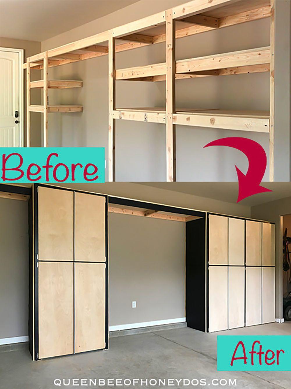 How To Enclose Storage Shelves Queen Bee Of Honey Dos Diy Garage Storage Cabinets Diy Storage Shelves Garage Storage Shelves
