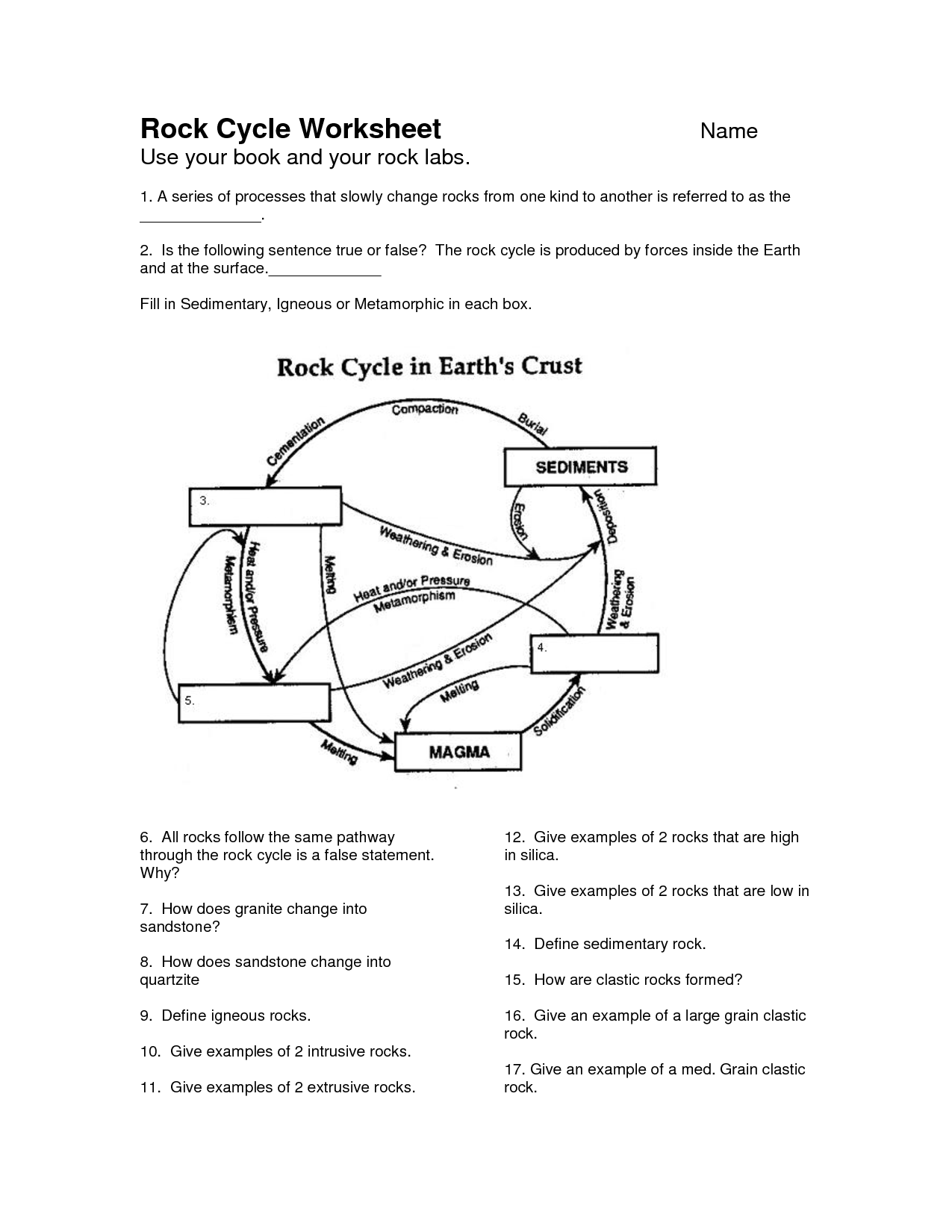 Worksheets Free Science Worksheets For 6th Grade rock cycle worksheet google search earth science pinterest search