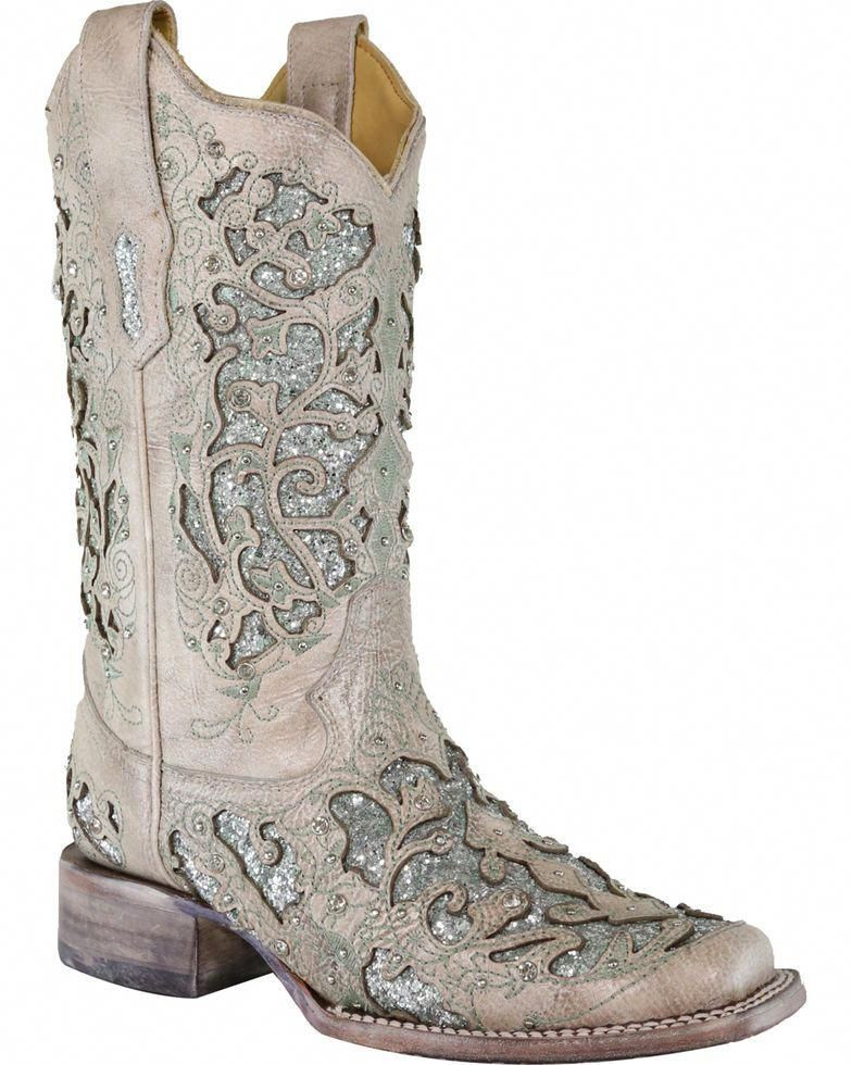 5807be8a6e08 Corral Women's Glitter & Crystals Cowgirl Boots - Square Toe, White, hi-res  #weddingboots