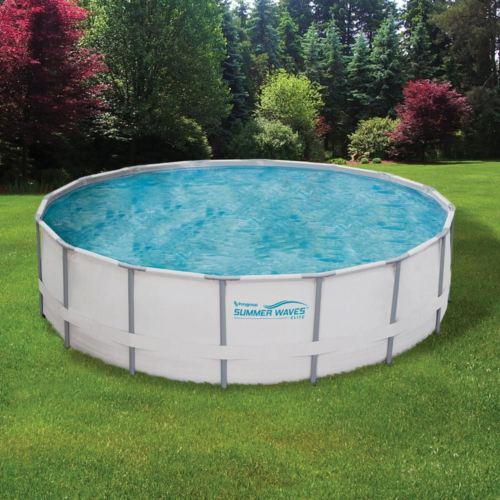 Summer Waves Elite Proseries 18 Ft Round X 52 In Deep Metal Frame Above Ground Pool Package Nb2041 The Home Depot Above Ground Pool In Ground Pools Swimming Pools