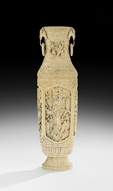 Chinese Carved Antique Ivory Vase Qing Dynasty 1644 1911 The