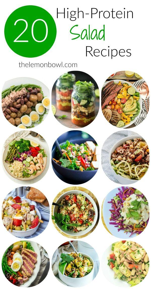 20 High Protein Salad Recipes The Lemon Bowl Protein Salad Recipes Good Healthy Recipes Protein Salad