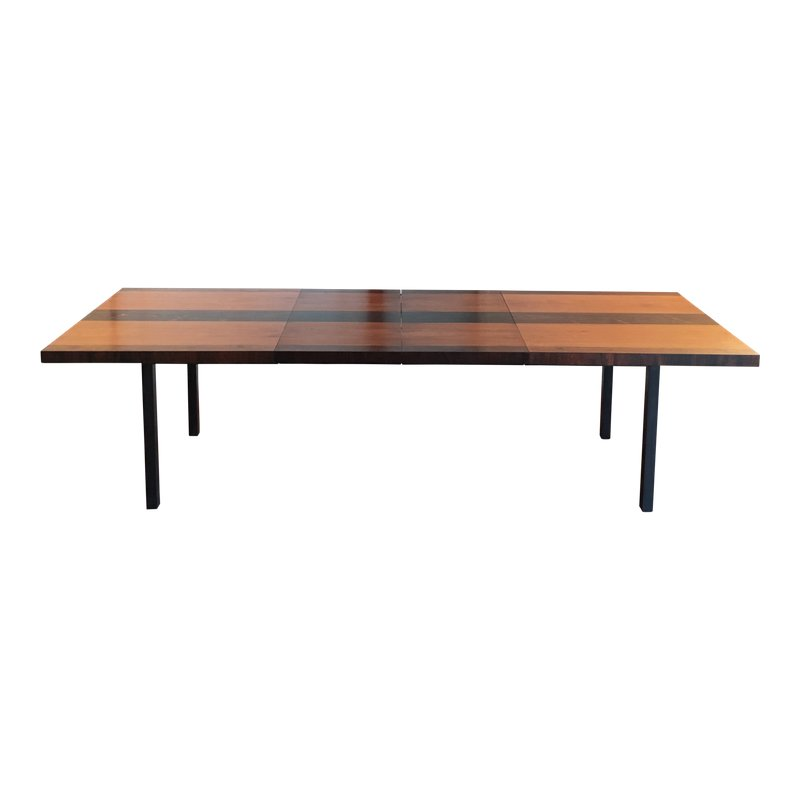 1960s Mid Century Modern Milo Baughman Mixed Wood Dining Table