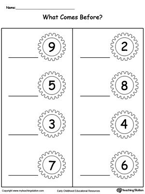 What Number Comes Before Part2 Math Worksheets Number Worksheets Kids Math Worksheets
