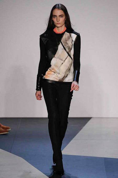 painted asymmetrical leather jacket...Helmut Lang