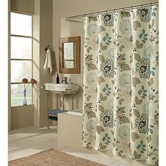 blue and tan shower curtain. Soft shades of tan  teal and beige give this floral shower curtain a serene