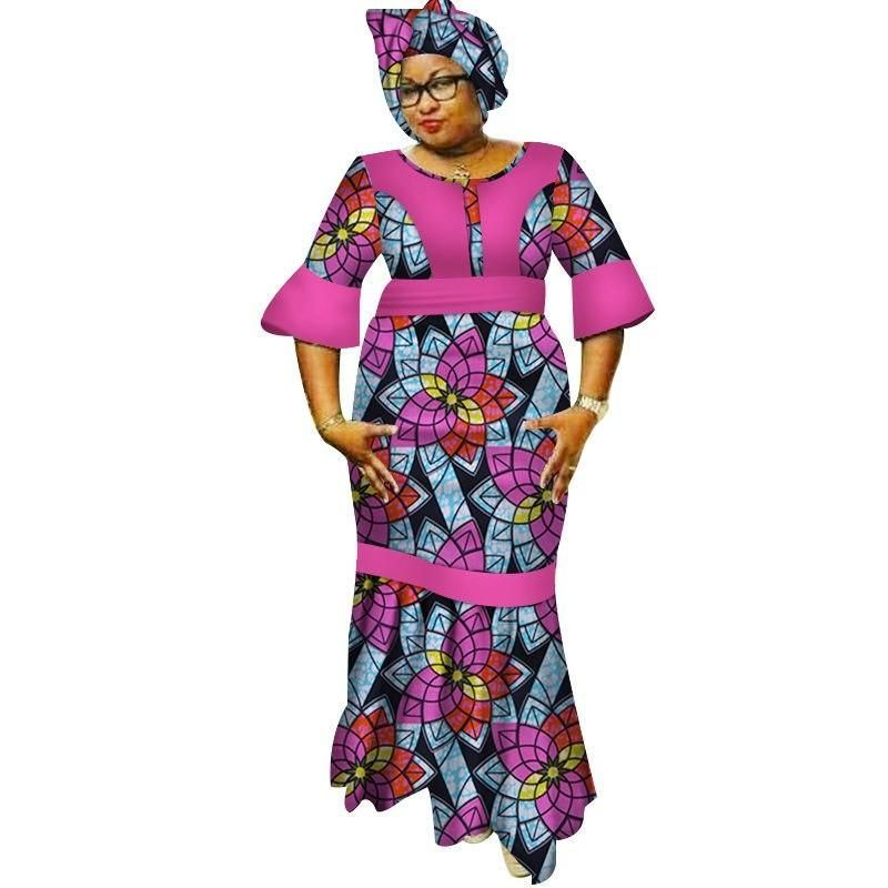 New Dashiki Women Long Dresses with Headscarf Bazin Riche African Patchwork Dresses for Women African Style Clothing WY3183 1 #africanfashion