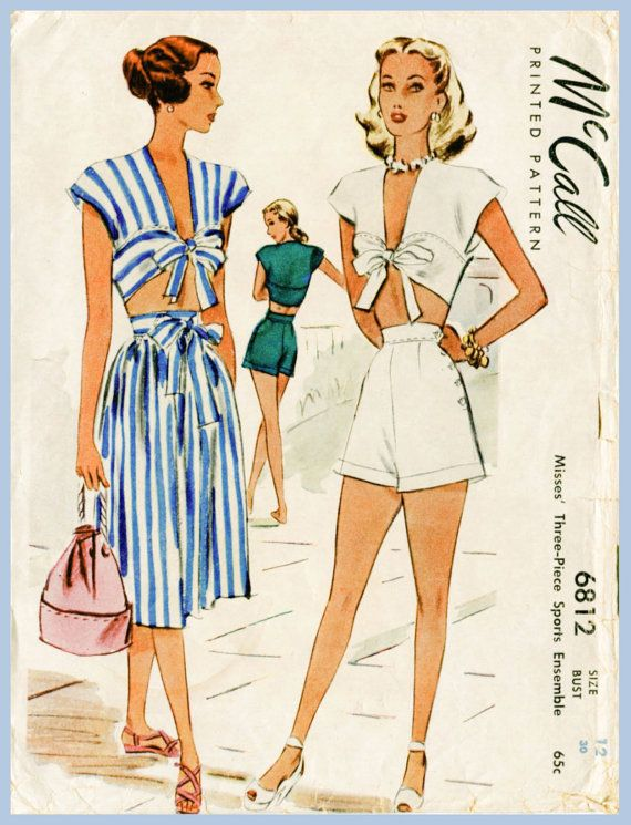 d20c9197d3 1940s 40s vintage playsuit sewing pattern crop top skirt high waisted  shorts beach romper bust 30 b30 English & French Instructions repro