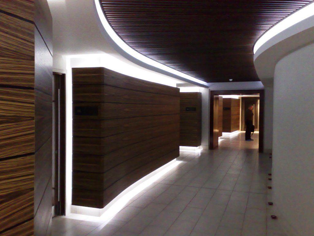 led lighting in hallway with wood paneling  LED Ideas