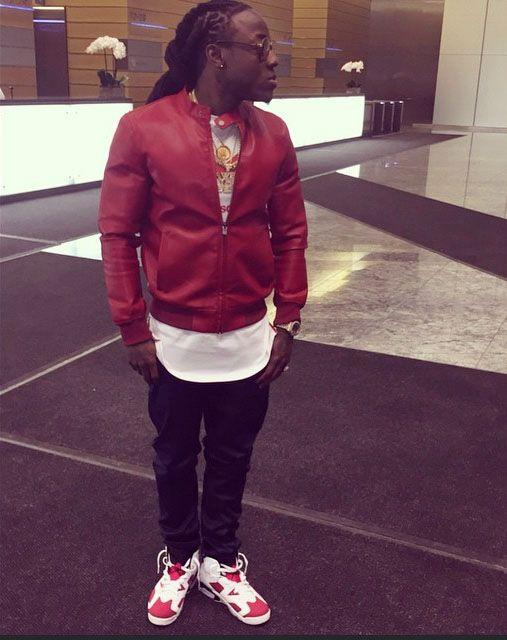 9b1069f626 Ace Hood wearing Air Jordan VI 6 Carmine