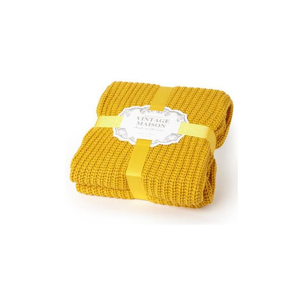 Mustard Yellow Throw Blanket Extraordinary Mustard Vintage Rib Knitted Throw 51 Cad ❤ Liked On Polyvore Review