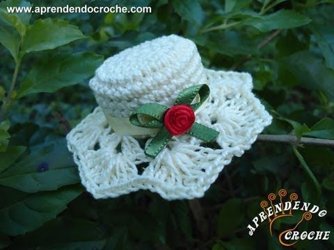 ▶ Imã / Lembrancinha de Nascimento em Croche - Mini Chapéu - Aprendendo Crochê - YouTube