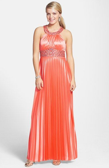 Sequin Hearts Embellished Neon Coral Halter Gown (Juniors) available at #Nordstrom