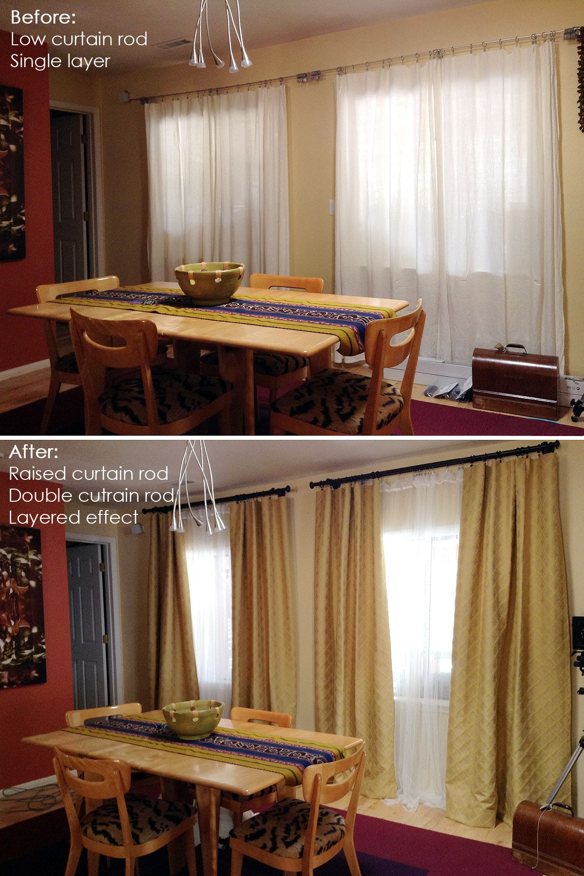I Love The Added Height With The New Curtains Before And After