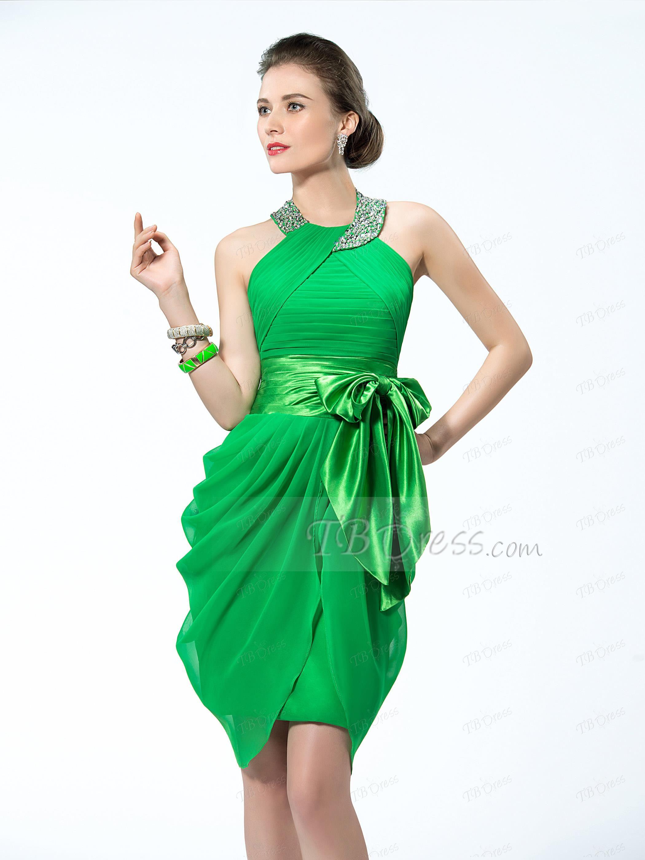 Delightful Halter Neckline Bowknot Short Cocktail Dress
