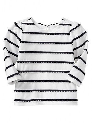 9890ec8cfd6 GAP Baby Girl 6-12 Months NWT Nautical White   Navy Scallop Stripe Shirt