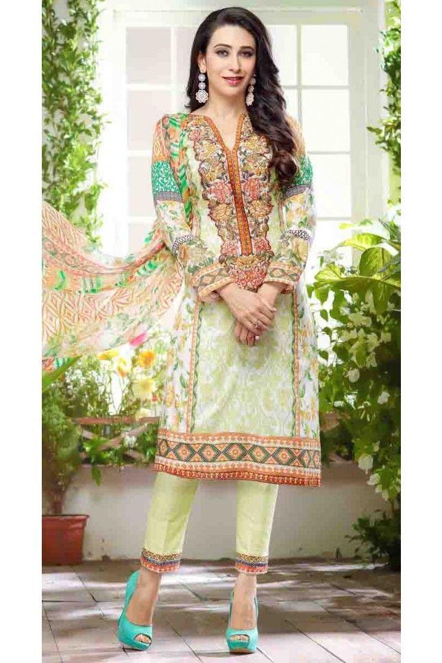 aeeec936c8 Karishma Kapoor Beautiful Multi Colour Cotton Satin Straight Salwar Kameez