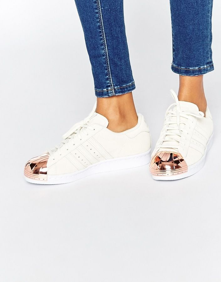 Adidas Superstar 80s rose gold metal toe cap sneakers are