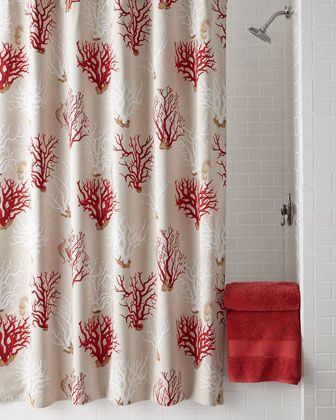 Brilliant French Laundry Home Red Coral Shower Curtain Horchow 225 Download Free Architecture Designs Xerocsunscenecom