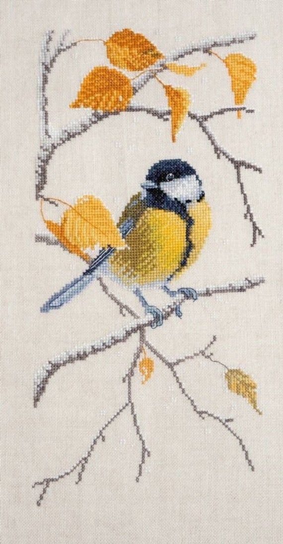 New Sealed Cross Stitch Embroidery Kit Tit Titmouse Little Bird Fall Autumn Embroidery by Russian Manufacture Gift Idea