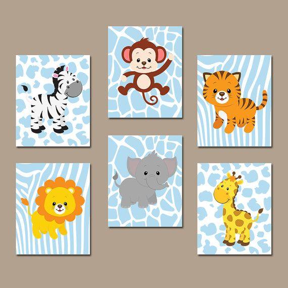 Safari Nursery Decor Jungle Theme Nursery Nursery Artwork: Baby Boy Nursery Wall Art, JUNGLE Animals Artwork, CANVAS