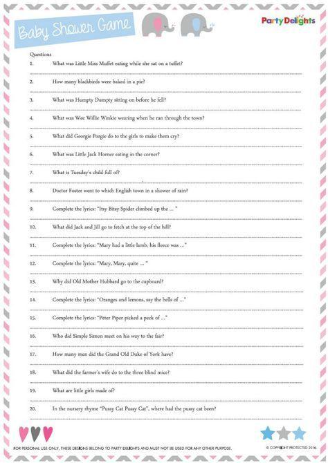 Free Printable Nursery Rhyme Quiz Baby Shower Quiz Fun Baby