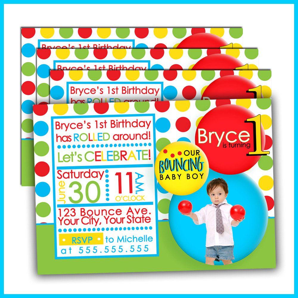 Ball Birthday invitations | Baby Ean | Pinterest | Ball birthday ...