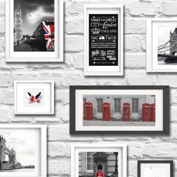 Muriva Britain In Frame Wallpaper Red White Black 102533