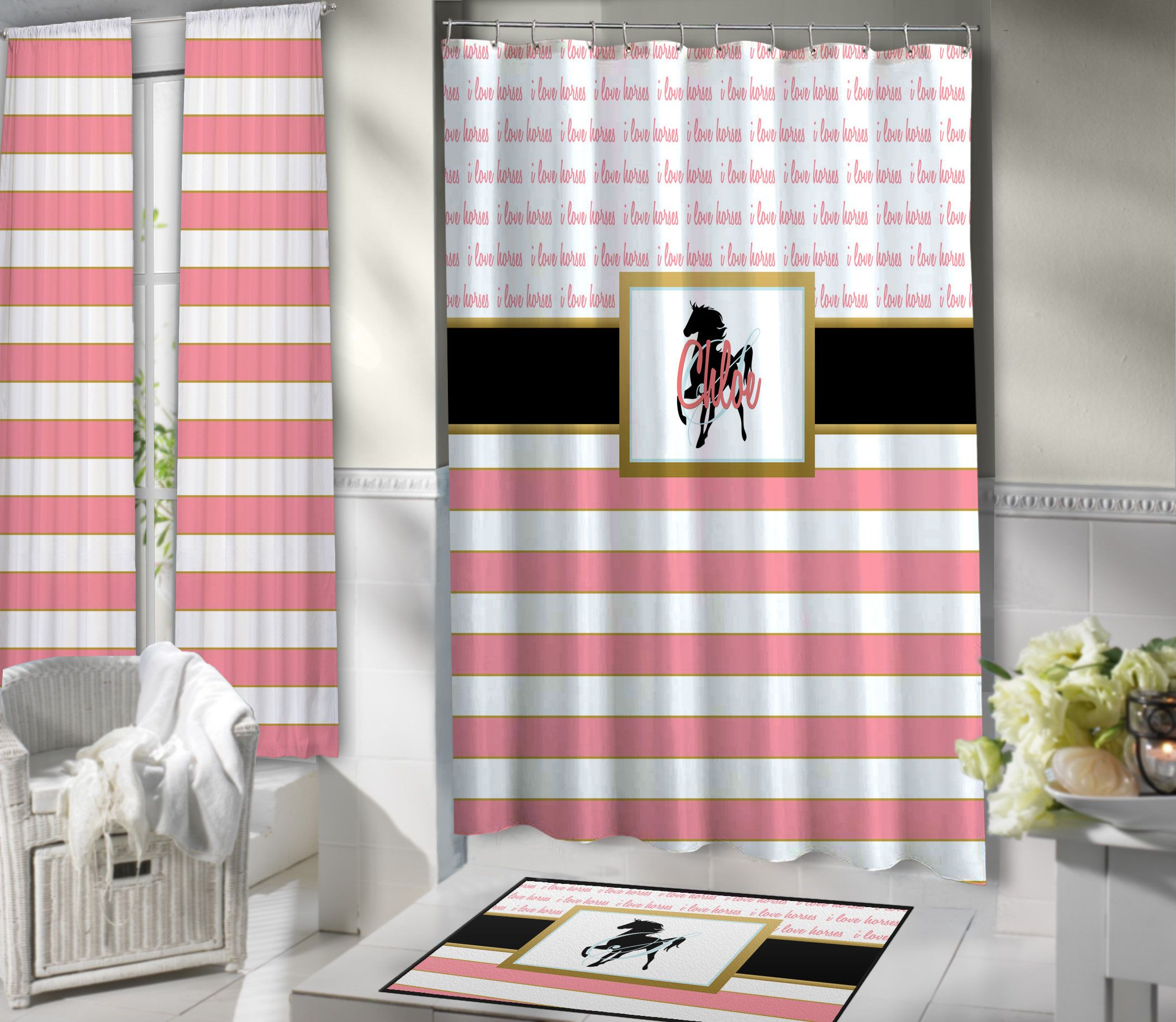 Light Pink Shower Curtain - Horse - Pink Shower Curtains - Striped ...
