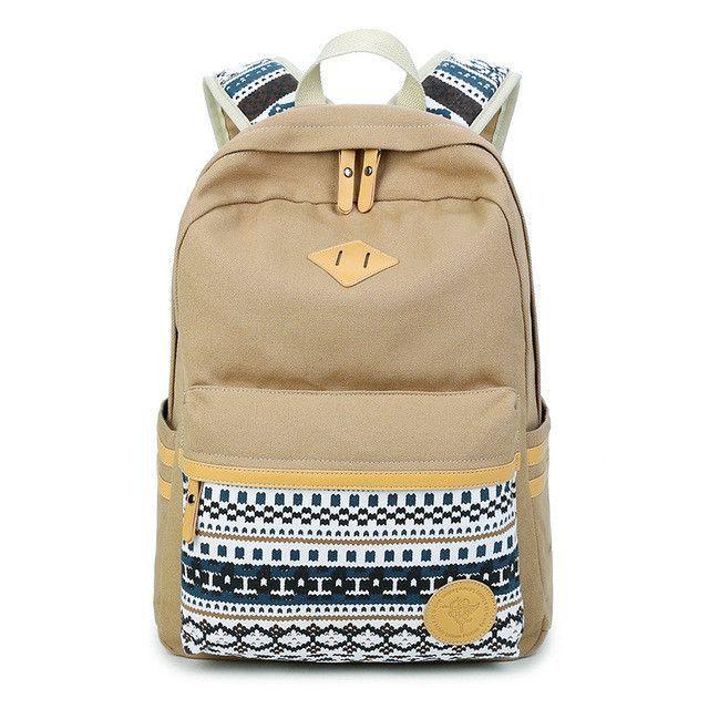 Ethnic Women Backpack for School Teenagers Girls Vintage Stylish School Bag  Ladies Canvas Backpack Female Back 1fe05d2f2e