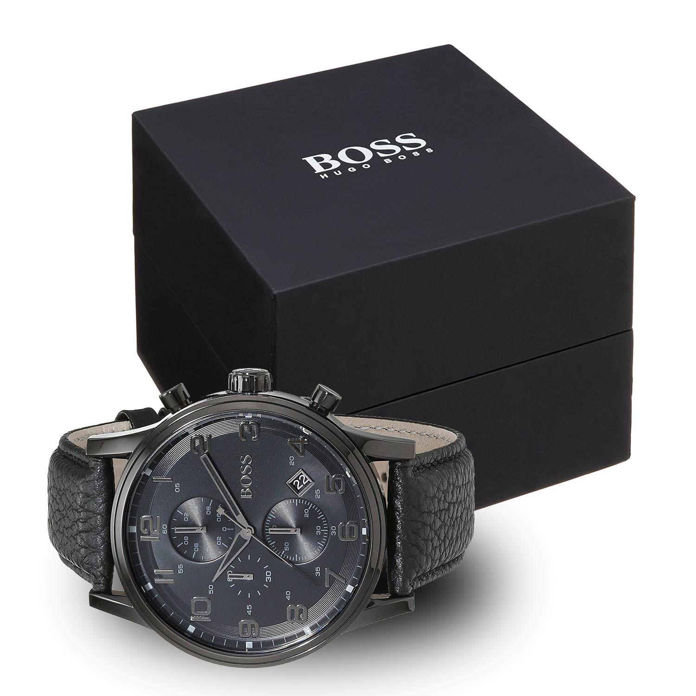hugo boss 1512567 herrenuhr in schwarz mit schwarzem kroko lederarmband chronographen f r. Black Bedroom Furniture Sets. Home Design Ideas