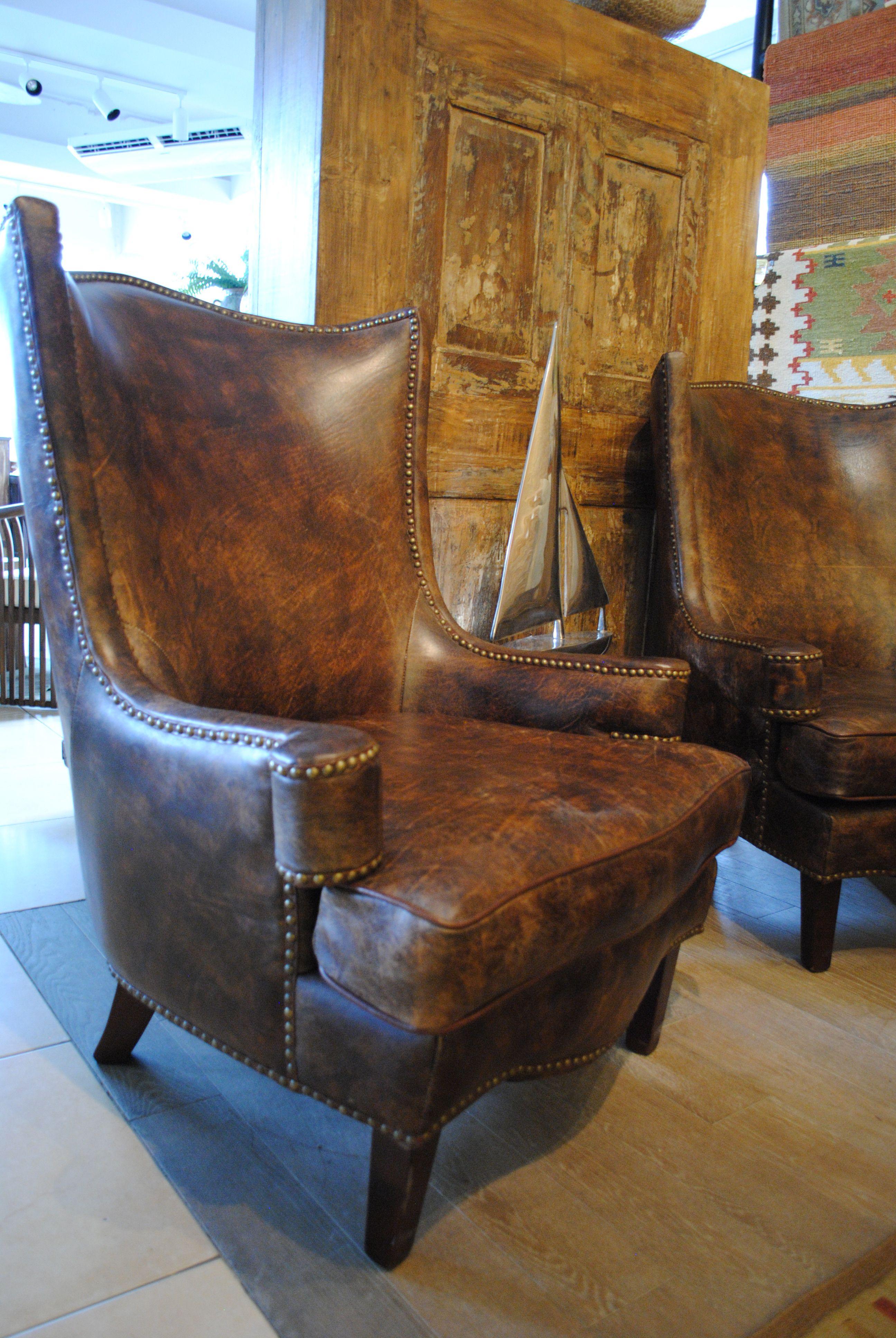 Cuero Vintage Guatemala Sillon De Cuero Top Grain 83x91x107cm  # Muebles Piel De Durazno