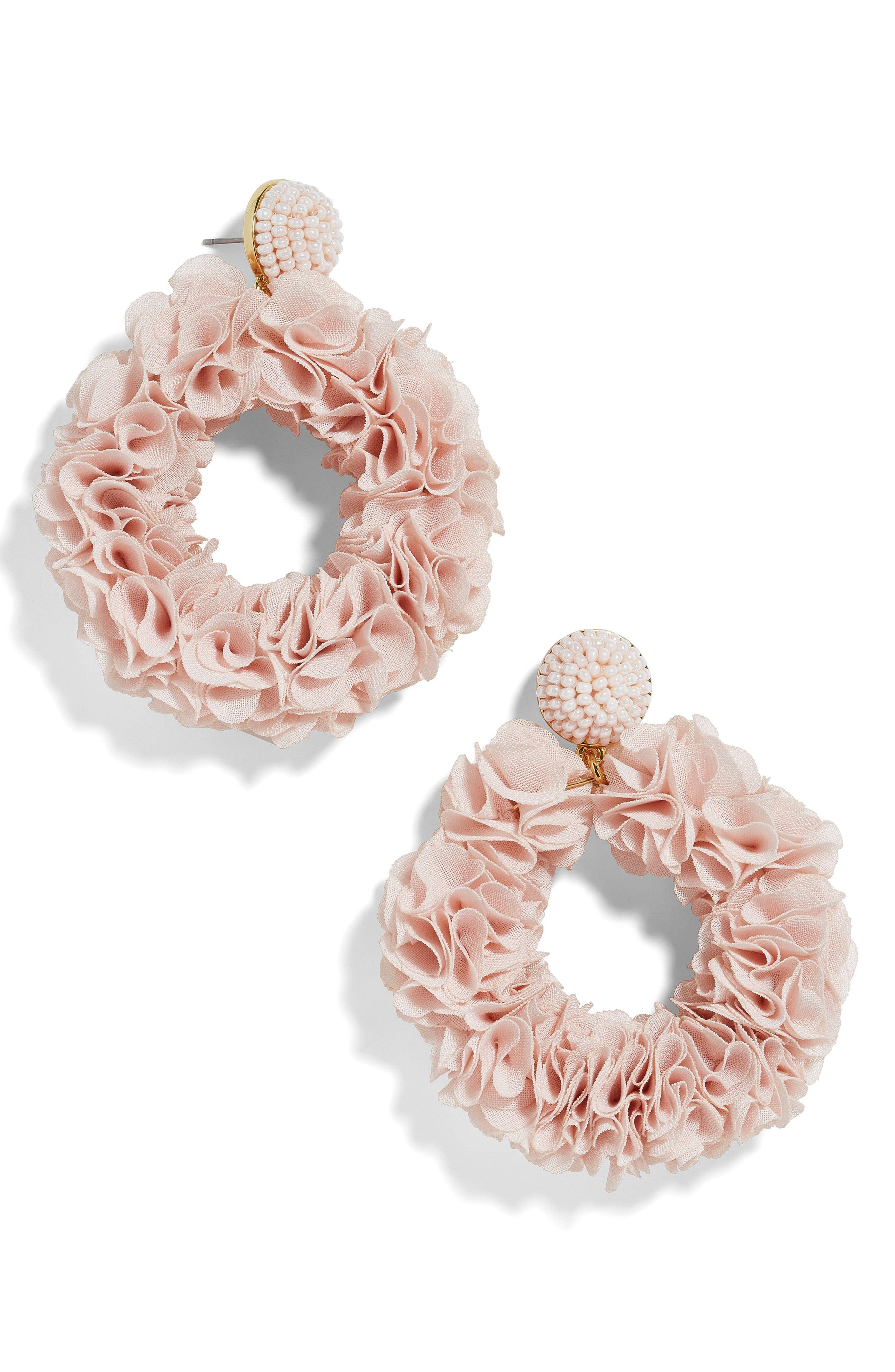Baublebar Camellia Floral Hoop Drop Earrings Floral Hoops Drop Earrings Floral