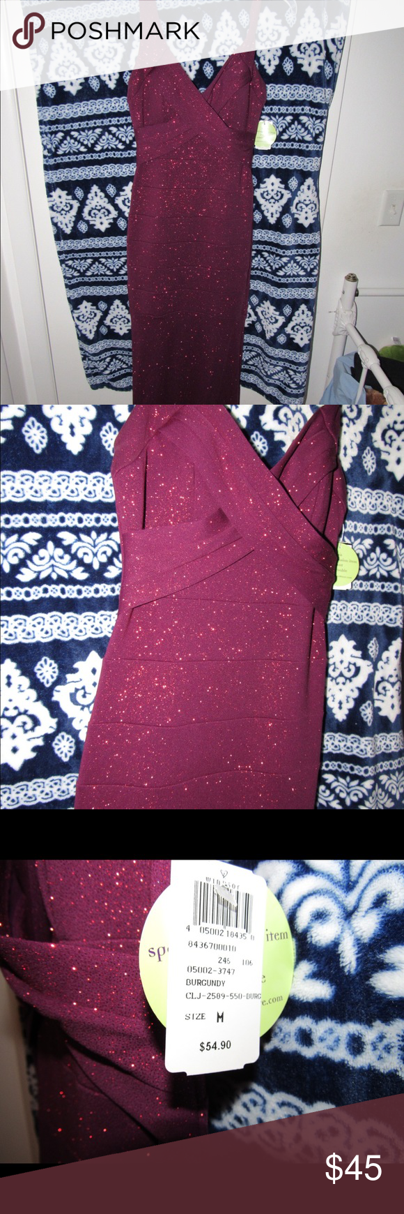 Long burgundy sparkly dress make an offer nwt elegant dresses